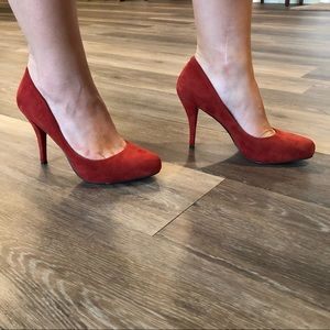 Size 7.5 Red Suede Heels
